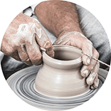 artisan ceramics atelier logo inspiration: work on pottery wheel