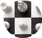 automotive training company logo inspiration: white chess knight on black chess field