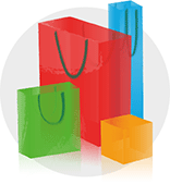 fashion outlet developer logo inspiration: colorful shopping bags