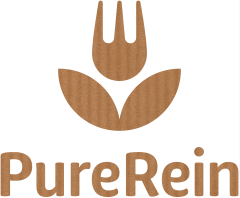 black, classic, simple logo for healthy food producer and shop, store PureRein with flower and fork motif