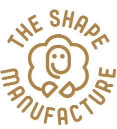 The Shape Manufacture ceramics atelier logo, round seal, linear sheep mascot