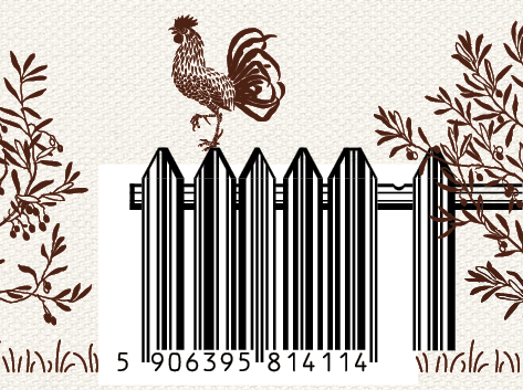 original illustrated barcode turned into a country fence with a rooster on top for vegan cookies packaging design