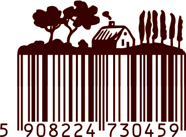 original illustrated barcode turned into a country house and fields view for smoothie juice packaging label design