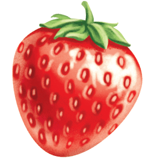 painted key visual illustration of a strawberry fruit for a smoothie juice label design