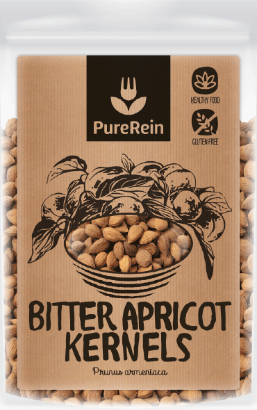 natural craft paper label design for superfood packaging with black hand-drawn bitter apricot kernels plant illustration