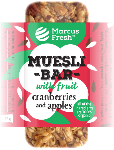 simple label design for muesli granola bar packaging with a silhouette illustration of cranberry and apple fruits on a bold vibrant red colored background
