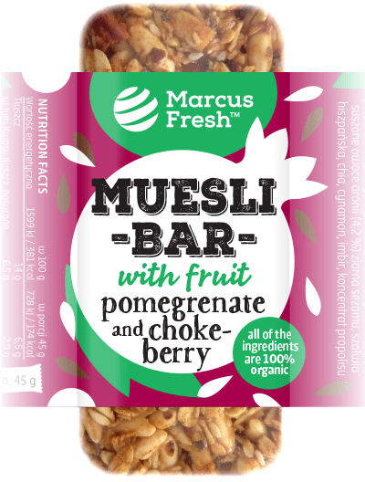 simple label design for muesli granola bar packaging with a silhouette illustration of pomegrenate and chokeberry fruits and sunflower seeds on a bold vibrant purple colored background