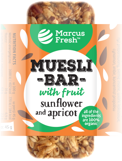 simple label design for muesli granola bar packaging with a silhouette illustration of apricot fruits and sunflower seeds on a bold vibrant orange colored background