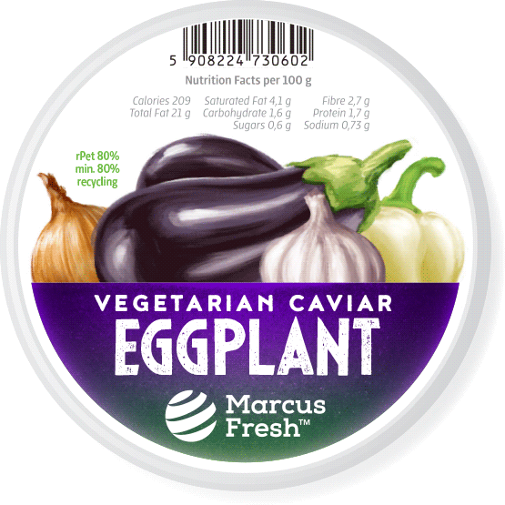 label design for packaging of vegetarian eggpplant caviar paste featuring a hand-painted realistic illustration of the ingredients