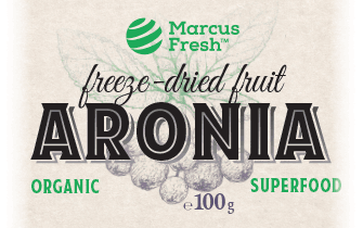 natural elegant orgranic freeze-dried fruit label design with chokeberry illustration and refined typography