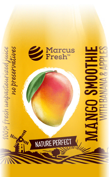 bottle with transparent label design for mango and banana smoothie juice, with handpainted fruit and country illustrations