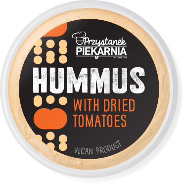 minimalistic black label design for savoury hummus paste packaging with simple geometric chickpea and dried tomatoes illustration for a cafe-bakery