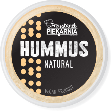 minimalistic black label design for hummus paste packaging with simple geometric chickpea illustration for a cafe-bakery