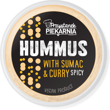 minimalistic black label design for spicy hummus paste packaging with simple geometric chickpea, curry and sumac illustration for a cafe-bakery