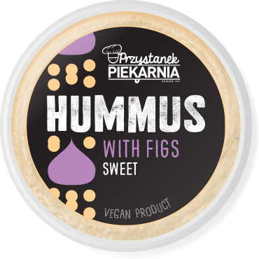 minimalistic black label design for sweet hummus paste packaging with simple geometric chickpea and fig illustration for a cafe-bakery