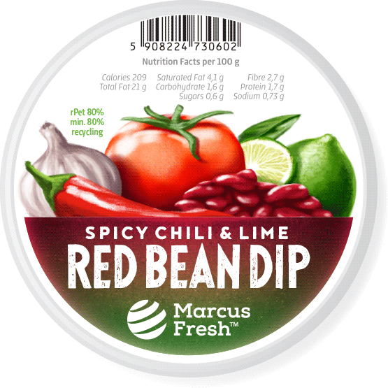 label design for packaging of vegetarian red bean dip paste featuring a hand-painted realistic illustration of the ingredients